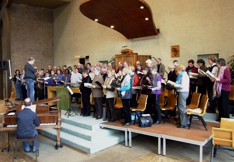 Foto: repetitie van 'Hosanna' in de Nieuwe Kerk